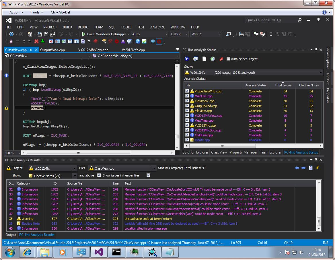 Visual Lint running with the Visual Studio 2012 RC dark theme.