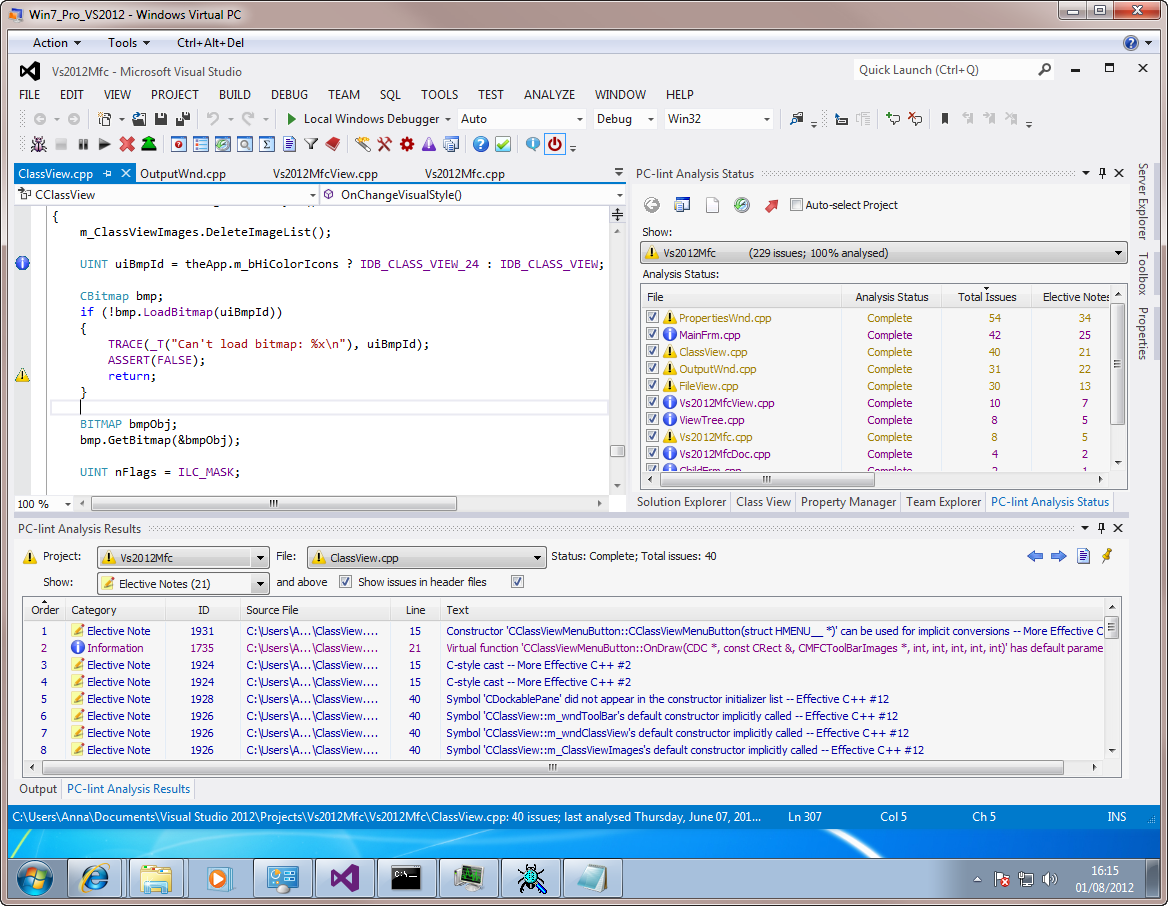 Visual Lint running with the Visual Studio 2012 RC light theme.