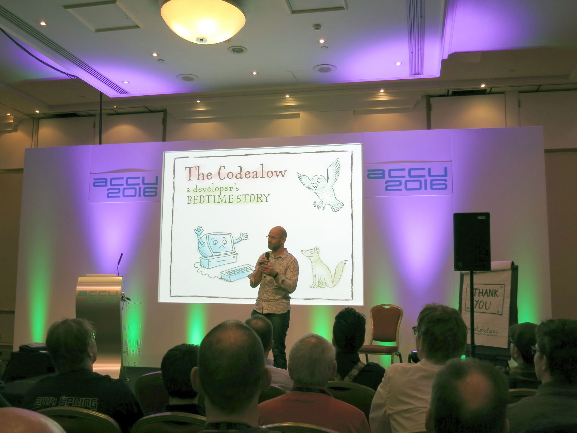 """Pete Goodliffe presenting """"The Codealow - a developer's bedtime story"""""""