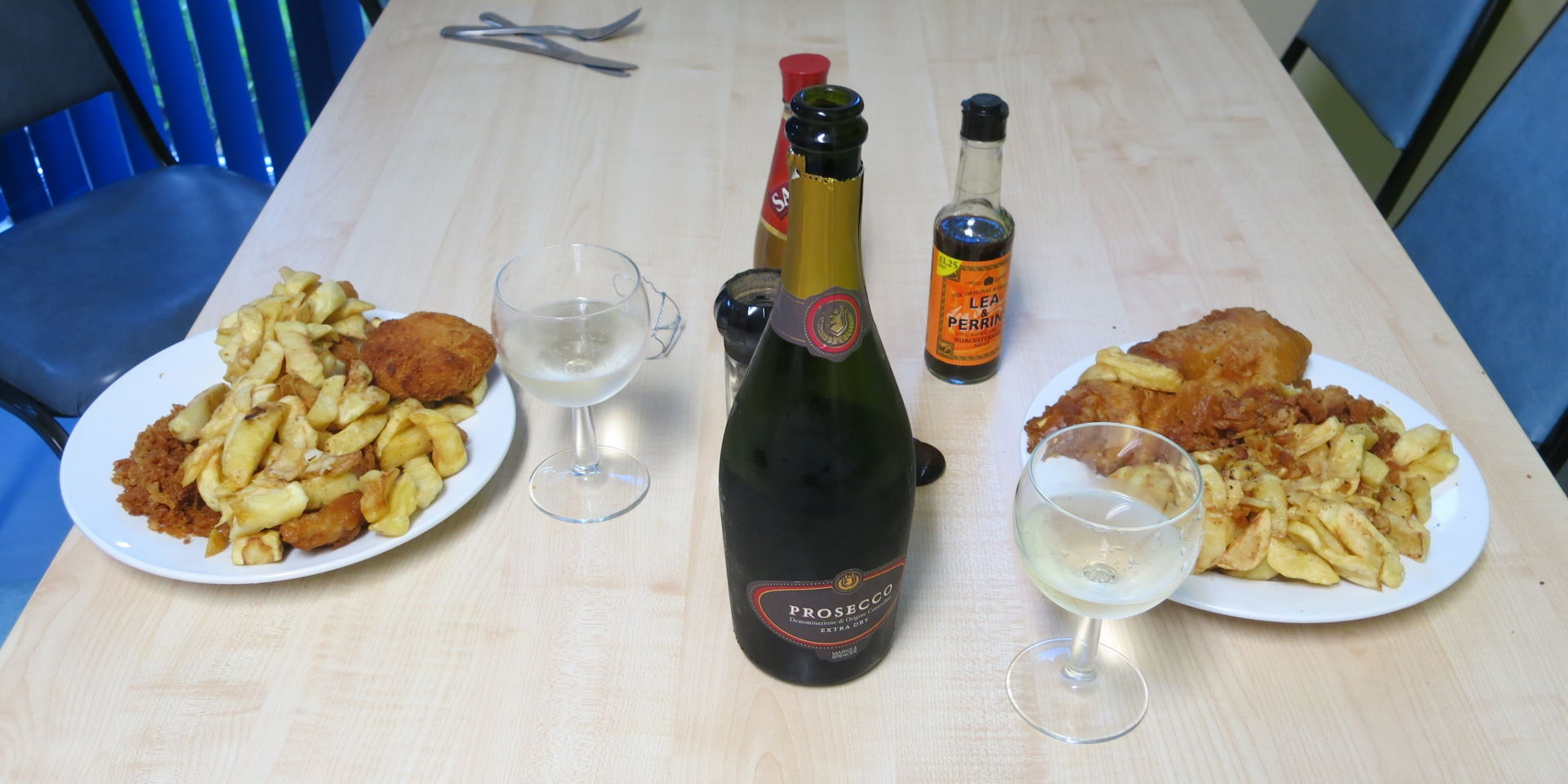 Prosecco, fish and chips