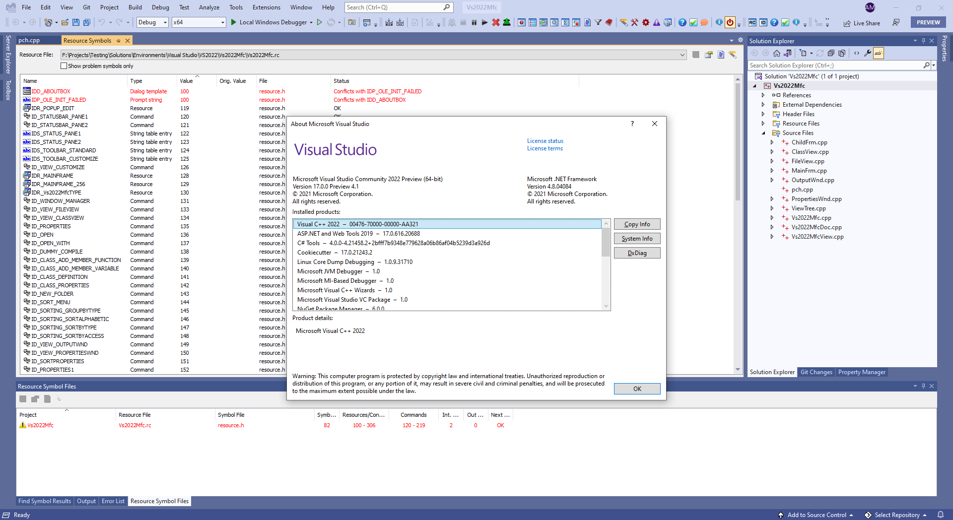 ResOrg 2.0.10.31 running within Visual Studio 2022 Preview 4.1