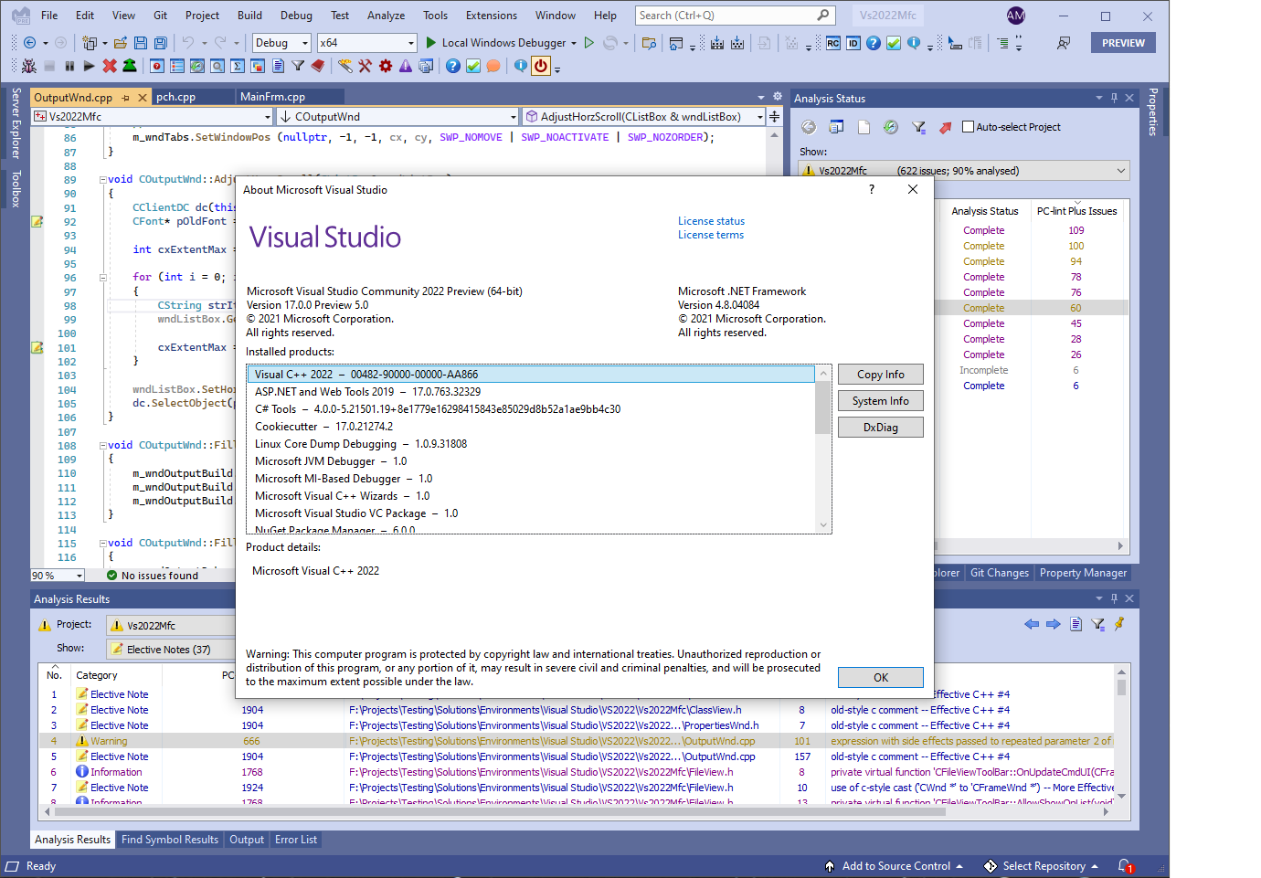 Visual Lint 8.0.5.346 running within Visual Studio 2022 Preview 5.0