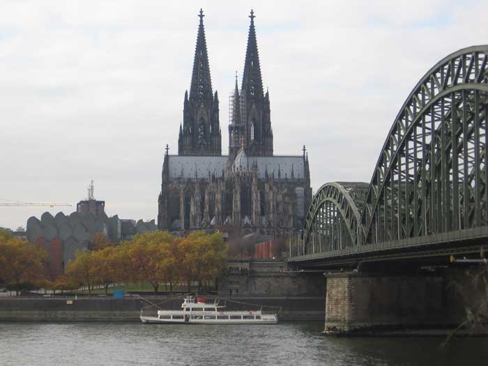 The magnificant gothic cathedral, viewed from across the Rhine
