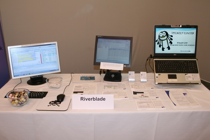 Our stand at ACCU 2010, complete with giveaways from our local sweet shop in Bournemouth! The two leftmost displays were connected to our grid analysis demonstrator, whilst the laptop on the right ran a rolling demo.