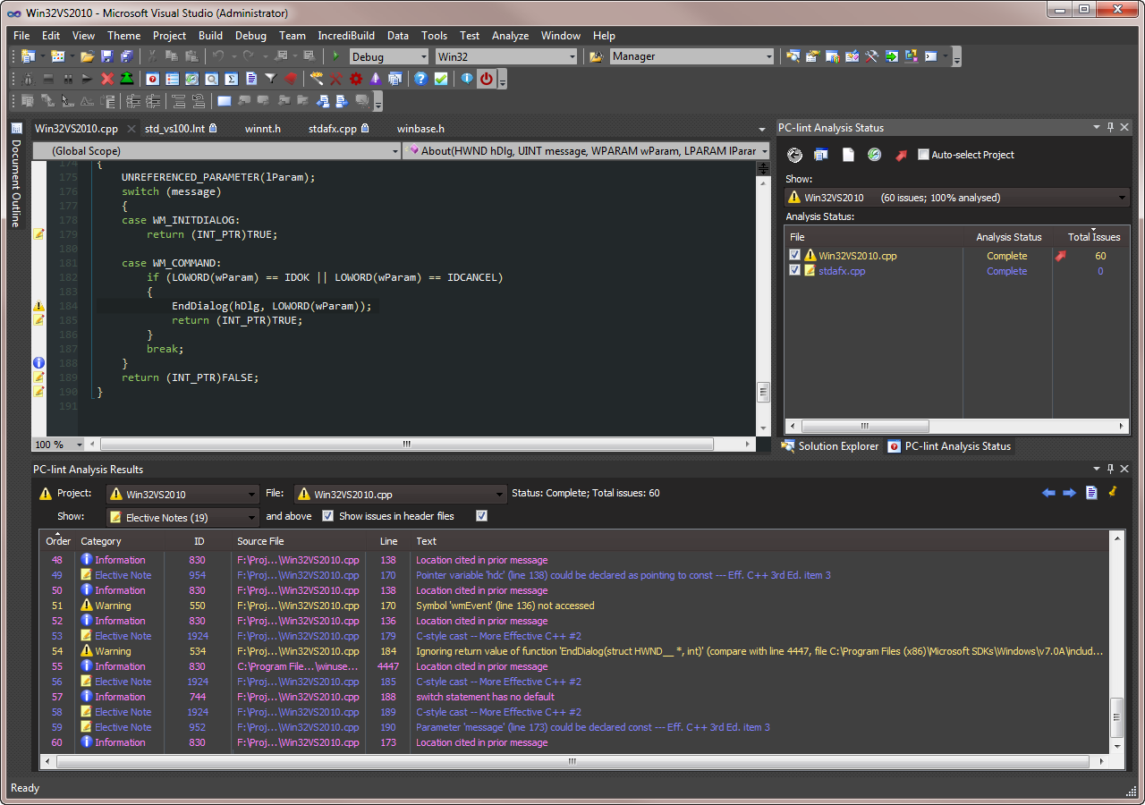 Visual Lint running with Visual Studio 2010 with a modified 'Expression' theme