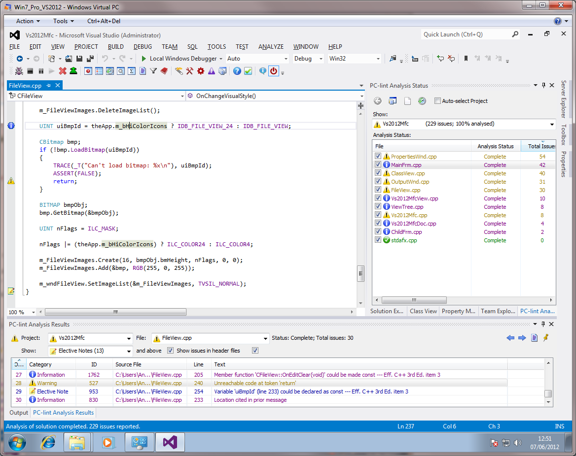 Visual Lint running within Visual Studio 2012 RC