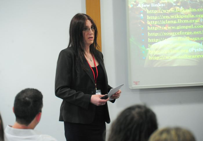 Anna-Jayne Metcalfe presenting 'Code Analysis in an Agile World' at Agile on the Beach 2013