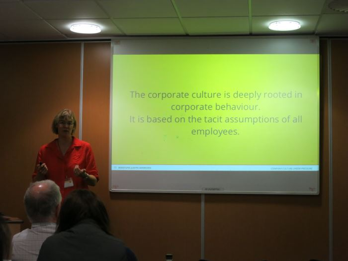 Judith Andresen presenting 'Company Culture Under Pressure'.
