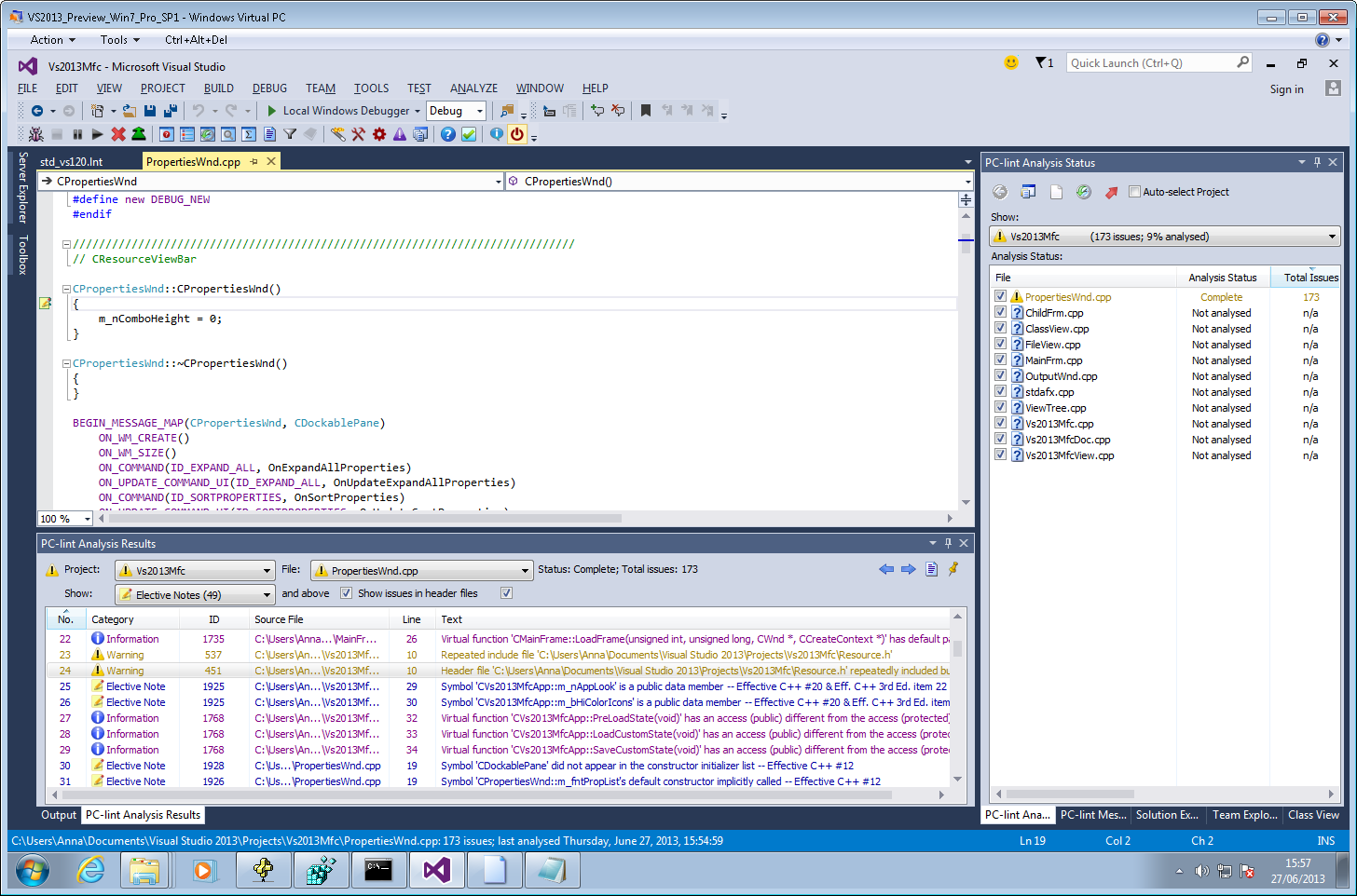 A development build of Visual Lint running within Visual Studio 2013 preview