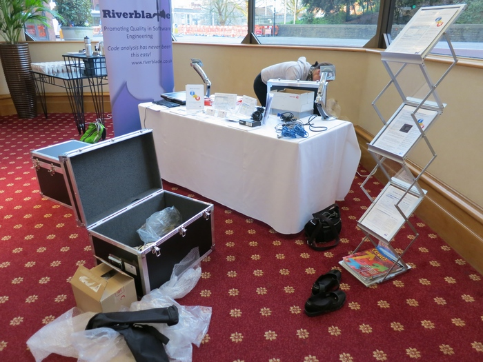 Setting up our stand before breakfast on Wednesday morning
