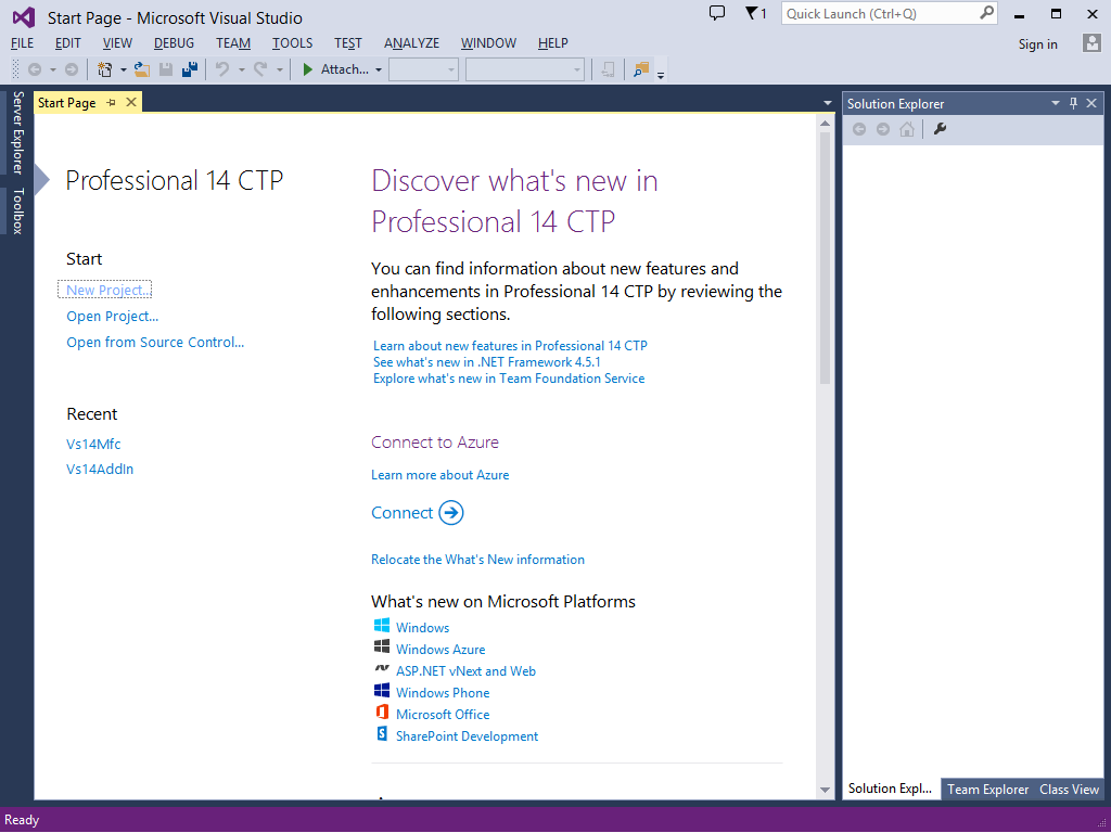 Visual Studio '14' CTP