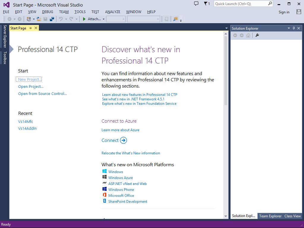 Visual Studio '14' CTP