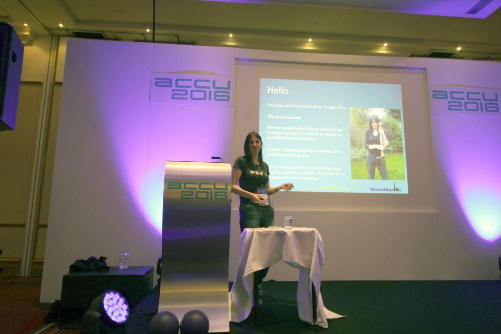 Anna-Jayne Metcalfe presenting the closing keynote 'Comfort Zone'