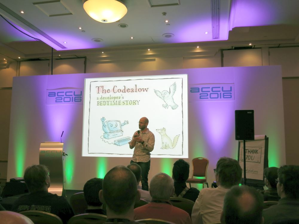 Pete Goodliffe presenting 'The Codealow - a developer's bedtime story' on Wednesday evening