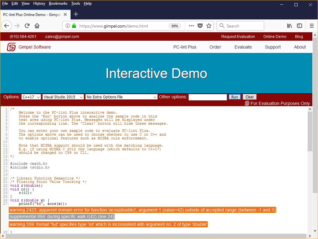 Gimpel's PC-lint Plus online demonstator